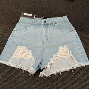 Pretty little thing  distressed denim shorts